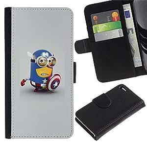 ARTCO Cases - Apple Iphone 4 / 4S - Cute Yellow America Superhero - Cuero PU Delgado caso Billetera cubierta Shell Armor Funda Case Cover Wallet Credit Card