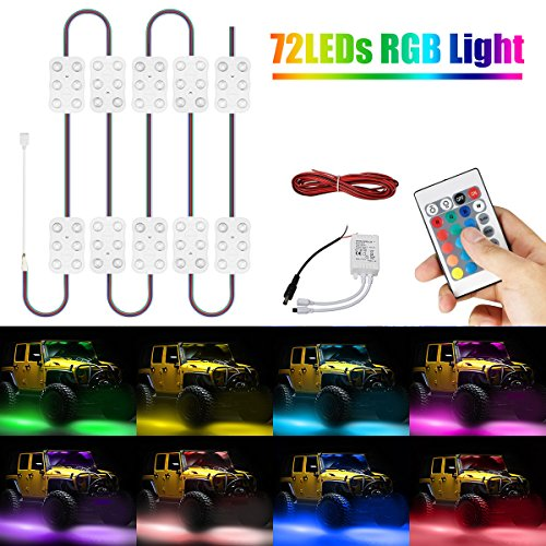 AMBOTHER 72 LEDs Van Ceiling Interior Lights Kit Strip/Module, Multi-Color 16.4ft 5050SMD Waterproof & IR Remote DC 12V for Christmas Home Motorcycle Car Van Loading Bar Indoor Party (12 Modules)