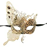 ILOVEMASKS Side Butterfly Masquerade Costume Party Luxury Mask - Gold White