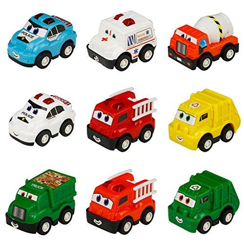 Vehicule Miniature Camion 9 Pcs Repousser Pour Garcon Et Fille