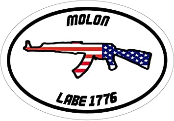 Oval Vinyl American Flag Molon Labe Spartan Decal Patriotic Bumper Sticker 2nd Amendment Gift