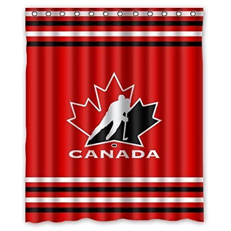 Shower Curtain Company Custom NHL Team Canada Hockey Stripes Waterproof Polyester 60