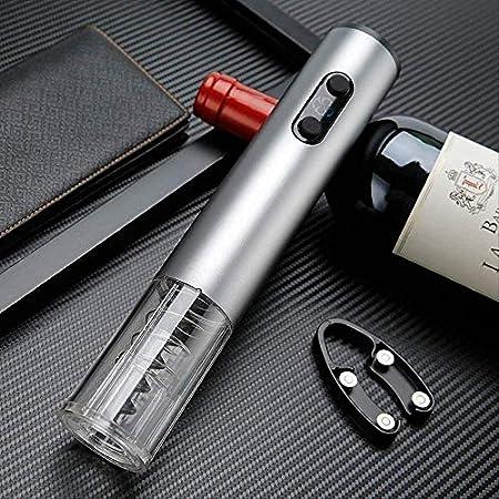 TETHYSUN Abridor de vino Sacacorchos eléctrico automático de botellas de vino abridor de botellas de vino Sacacorchos automático eléctrico abridor de vino sin cable gris (color gris)