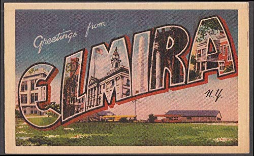 Greetings from ELMIRA NEW YORK airport Large Letter postcard ca 1930s