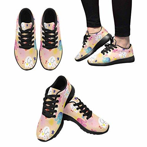 Interestprint Femmes Jogging Running Sneaker Léger Aller Facile À Pied Confort Sport Chaussures Athlétiques Mignon Bébé Éléphants Multi 1