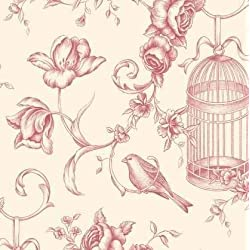Patton GC29840 Floral Animal Toile Wallpaper, Beige