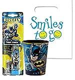 Batman Inspired Super Hero 2pc Bright Smile Oral Hygiene Set! (1) Batman Turbo Powered Spin Toothbrush & Batman Mouthwash Rinse Cup! Plus Dental Gift Bag & Tooth Saver Visual Aid!