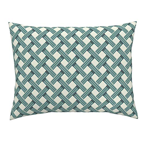 Roostery Rattan Green Geometric Standard Knife Edge Pillow Sham Rattan Rattan Trellis Classic Chic Modern Graphic Teal On Cream Garden by Incognitoshop 100% Cotton - Standard Sham Trellis Garden