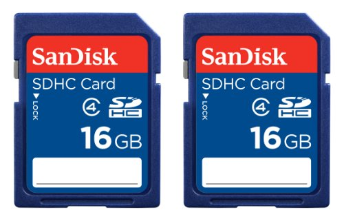SanDisk 16GB Class 4 SDHC Memory Card, 2 Pack (2x16GB), Frustration-Free Packaging-...
