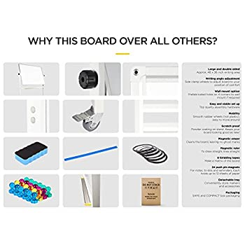 """flybold Mobile Whiteboard 36"""" x 48"""" inch Magnetic Double Sided Flip Over Dry Erase Reversible Portable Home Office Classroom Board with Magnetic Eraser Ruler 24 Push Pin Magnets 6 Gridding Tapes"""