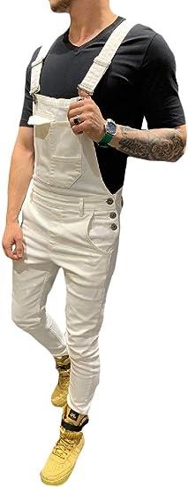 Nicellyer メンズジャンプスーツオーバーオールスリムフィット調節可能なビブパンツカモ足首ジーンズ