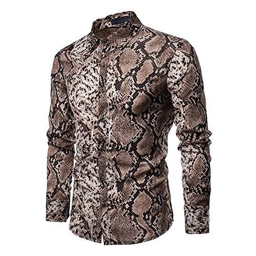 lisenraIn Men's Button Down Shirts Long Sleeve Slim Fit Cotton Floral Print Casual Shirt