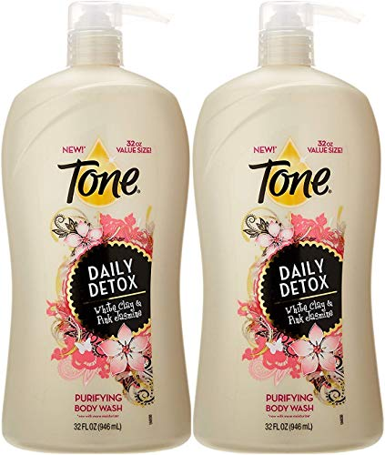 Tone Daily Detox Body Wash, White Clay & Pink jasmine, 32 Ounce Pump Bottle (Pack of 2)