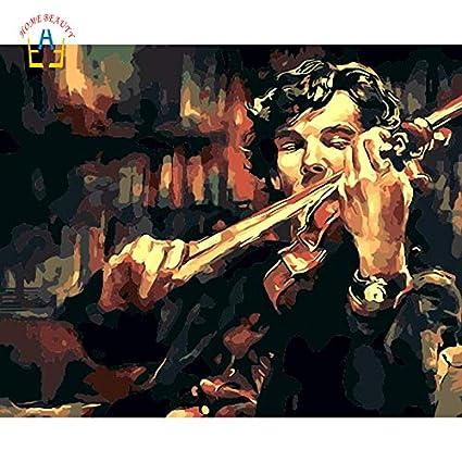 KYKDY Cuadros de Sherlock por números. Cuadros modulares pintados a mano en la pared. Dibujo por números en lienzo. Decoración del hogar WYA171,40X50cm, bricolaje marco.