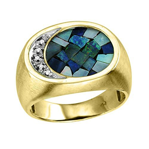 Mens Diamond & Mosaic Opal Ring in Sterling Silver or Yellow Gold Plated Silver