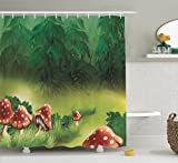 Mushroom Decor Shower Curtain by Ambesonne, Fly Agarics Magical Wonderland Lawn Meadow Scenery Greenwood Design, Polyester Fabric Bathroom Shower Curtain Set with Hooks, Olive Green Red White Navy