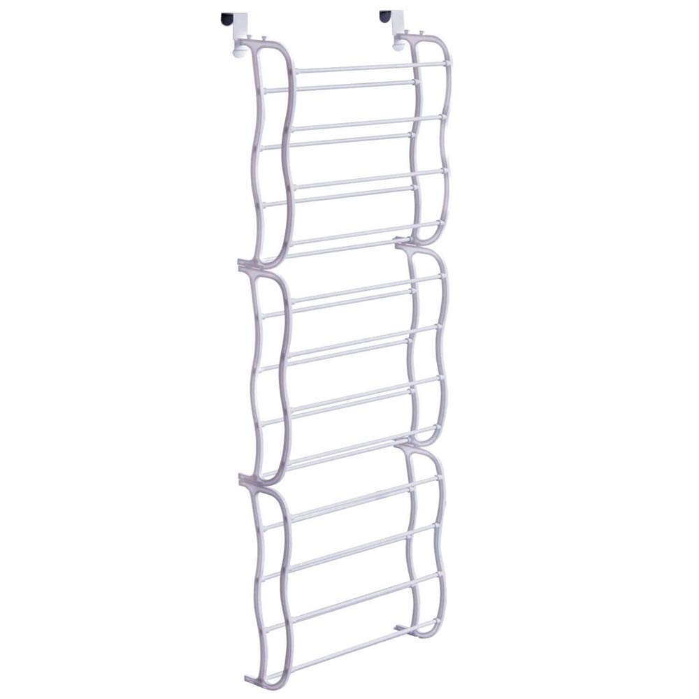 veveshop Over-The-Door Shoe Rack Wall Hanging 12 Layers Closet Organizer Storage Metal, Plastic White Color 36 Pairs Length: 50cm/19.7 inch Width: 20cm/7.8 inch Height: 183cm/72inch by veveshop