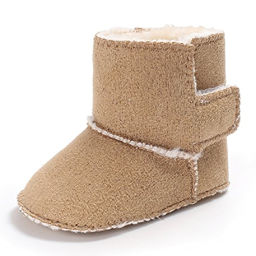 Baby Soft Sole Snow Crib Shoes Toddler Boots Brown - 2
