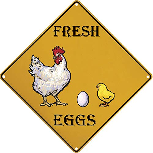 SIGNT Fresh Eggs Crossing Tin Signs Vintage Designs Farm Organic Retro Bar Sign Country Home Decor Wall Indoors Metal Coffee Art Poster Bedroom -