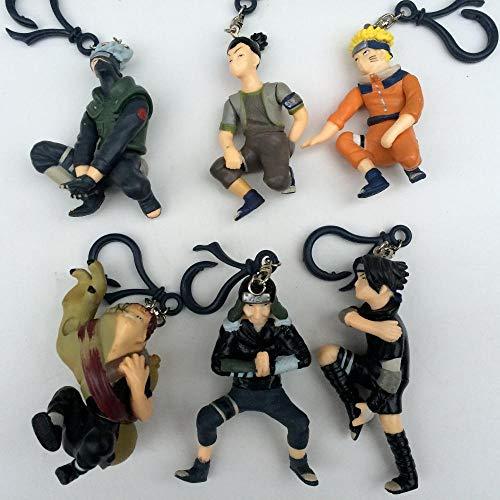 - Homie Store Anime Cartoon Naruto Kakashi Uzumaki Naruto aara Sasuke Inuzuka Kiba Sarutobi PVC Figure Key Chain Toys Dolls 6pcs/Set - C440