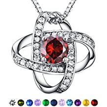 AAA Cubic Zirconia Necklace - Casfine Silver Birthstones Pendant Necklace Gift for Lover & Mom & Women