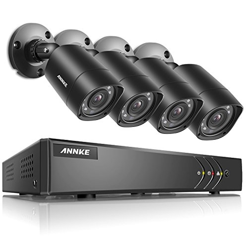 ANNKE 8+2 Channel Security Camera System 1080P Lite H.264+ DVR and (4) 1.0MP 720P Weatherproof Cameras, Email Alert with Snapshots, Enable H.264+ to Record longer, Save money (NO HDD Included) Drive Housing Kit