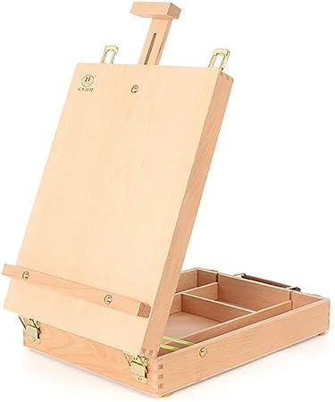 DJSMdjhj Arte Caballete de Escritorio Caja de Pintura de Aceite de Madera Caja de Herramientas Bosquejo Maleta Madera de Haya Caballete de Arte Portátil: Amazon.es: Hogar