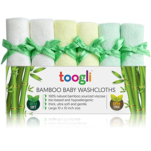 Ultra Soft Bamboo Baby Washcloths by Toogli (6 Pack)|Thick 32 Gram Weight - Large 10 x 10 Inch Reusable Wipes
