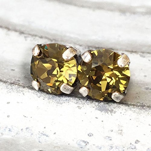 swarovski-elements-austrian-crystal-crystallized-stud-earring-khaki-green