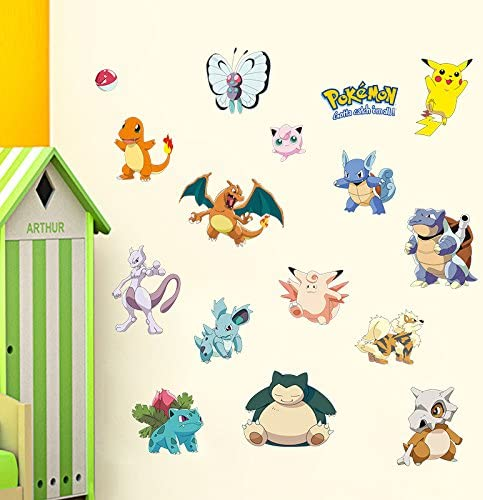 Kibi Pokemon Wall Stickers Pokemon Wall Stickers for Bedrooms Pokemon Go Stickers for Kids Bedroom Nursery Decoration Pikachu Wall Stickers