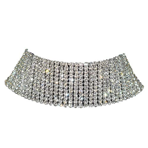 (Balalei Sparkling Silver Color Crystal Collar Chain Choker Necklace Bridal Women Wedding Party Diamante Rhinestone Choker Jewelry Gifts)