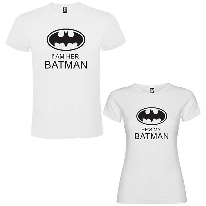 Pack de 2 Camisetas Blancas para Parejas, Iam Her Batman y Hes my