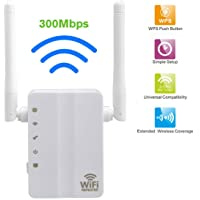 N&M Tech Wifi Extender Repeater Wireless Signal Booster Wi-Fi long range Router Amplifier Network High-speed 300Mbps 2.4GHz for Home House Office 3 in 1 Repeater/Access Point/Router Mode (White)
