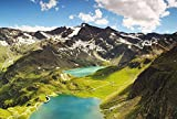 Green Mountains And Lakes Art Print Canvas Poster,Home Wall Decor(28x42 inch)