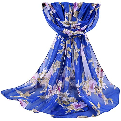 URIBAKE ❤ Women's Floral Printed Shawl Soft Chiffon Wrap Wraps Scarf Voile (Blue) (Circle Echo Velvet)