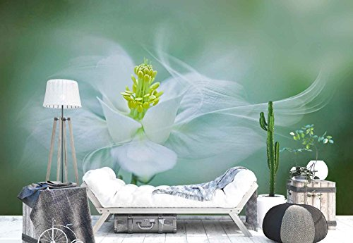 (Photo wallpaper wall mural - Columbine Flower Petals Motion Macro - Theme Flowers - XL - 12ft x 8ft 4in (WxH) - 4 Pieces - Printed on 130gsm Non-Woven Paper - 1X-1291918V8)