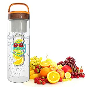 Infusion8er Fruit Infused Water Bottle, Sports Bottle-24oz- Leak Proof, Dishwasher Safe, BPA Free Tritan Plastic, Orange Twist Cap, Easy Carry Handle, Large Capacity Infuser Chamber