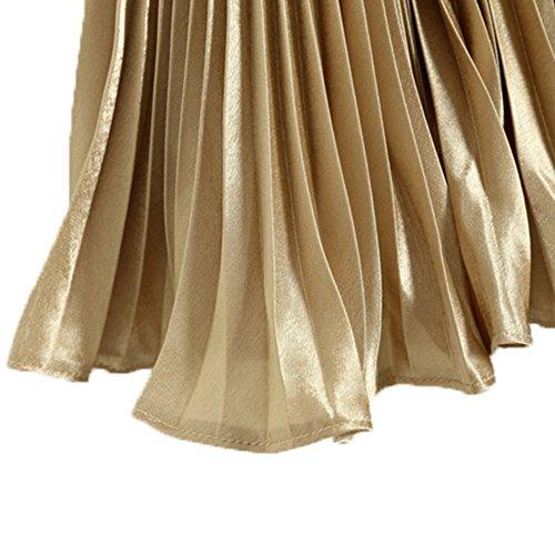 hibote Mujeres plisado de la falda Oro