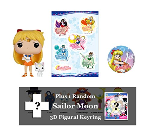 Spacepositive Sailor Moon Bundle: Funko POP! Figure, Sticker Sheet, Button, & Figural 3D Keyring (Sailor Venus)