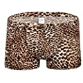 Eolgo Men's Leopard Sexy Underwear Fashion Breathable Comfortable Boxer Briefs Sweat-Absorbing Flat-Angle Underpants