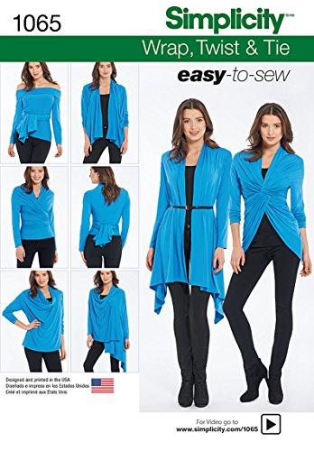 Simplicity 1065 Misses' Wrap, Twist & Tie Knit Cardigan Sewing Template, Size A (XS-S-M-L-XL)