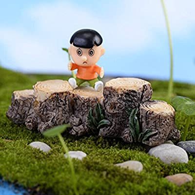 Figurines & Miniatures - Tree Stump Miniature Fairy Figurines Resin Bonsai Micro Landscape DIY Crafts Fairy Garden Miniatures Decoration : Industrial & Scientific