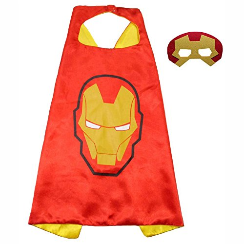 FASHION ALICE Superhero Superman CAPE & MASK SET Adult, Mens, Womens Halloween Costume Cloak Kids Girl And Boy Cape and Mask Costume for Child Pretend Play, Dress Up,Parties (Iron Man)