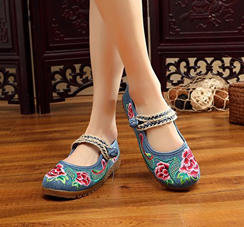 AvaCostume Womens Embroidery Linen Knit Oxford Sole Shoes Blue CcyFB8c68H