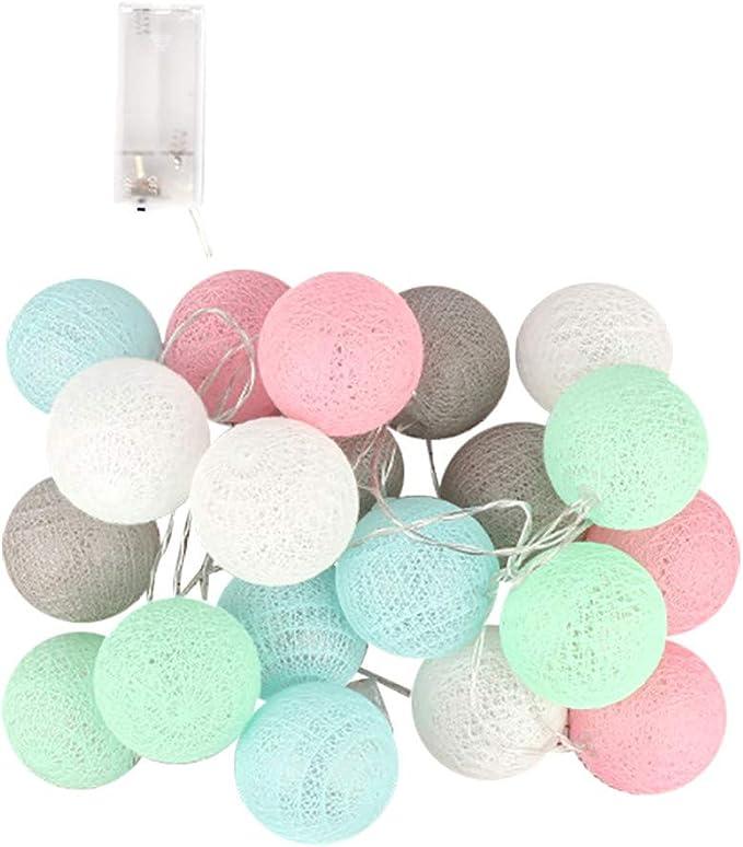 BaZhaHei Navidad 3 metros 20 luces de cadena de bolas de algodón ...