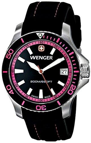 Wenger Women's 0621.103 Sea Force 3 H Analog Display Swiss Quartz Black Watch