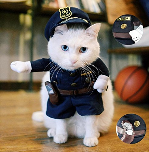 [Meiying Pet Policeman Costume Small Dog Clothes Cat Funny Apperal] (Extra Small Batman Dog Costume)