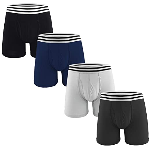 Men's 4 Pack Boxer Briefs Breathable & Lightweight Classic Cotton Pouch Underwear with Open Fly S Size