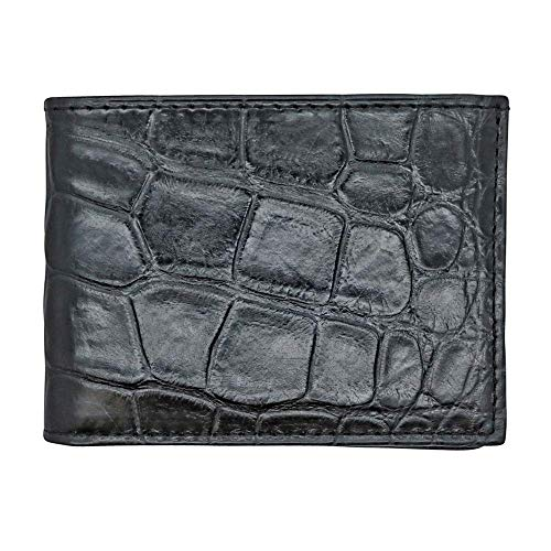 Black Genuine Millennium Alligator Bifold Wallet - RFID Blocking - American Factory Direct - Large Tile - Made in USA by Real Leather Creations FBA1157