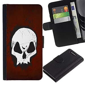 Planetar® Modelo colorido cuero carpeta tirón caso cubierta piel Holster Funda protección Para Sony Xperia Z1 Compact / Z1 Mini / D5503 ( Cool Goth Skull Red )